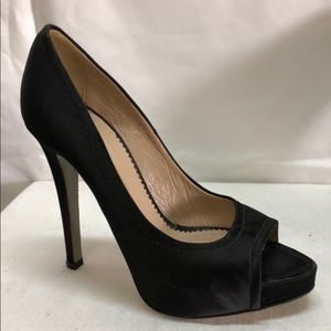 GIORGIO ARMANI BLACK SATIN PEEP TOE PUMPS